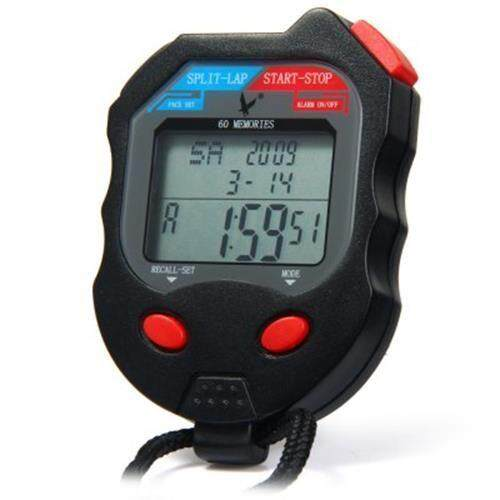 PC560 3 ROWS 60 MEMORIES LCD DIGITAL SPORTS STOPWATCH WITH CALENDAR ALARM FUNCTION (BLACK)