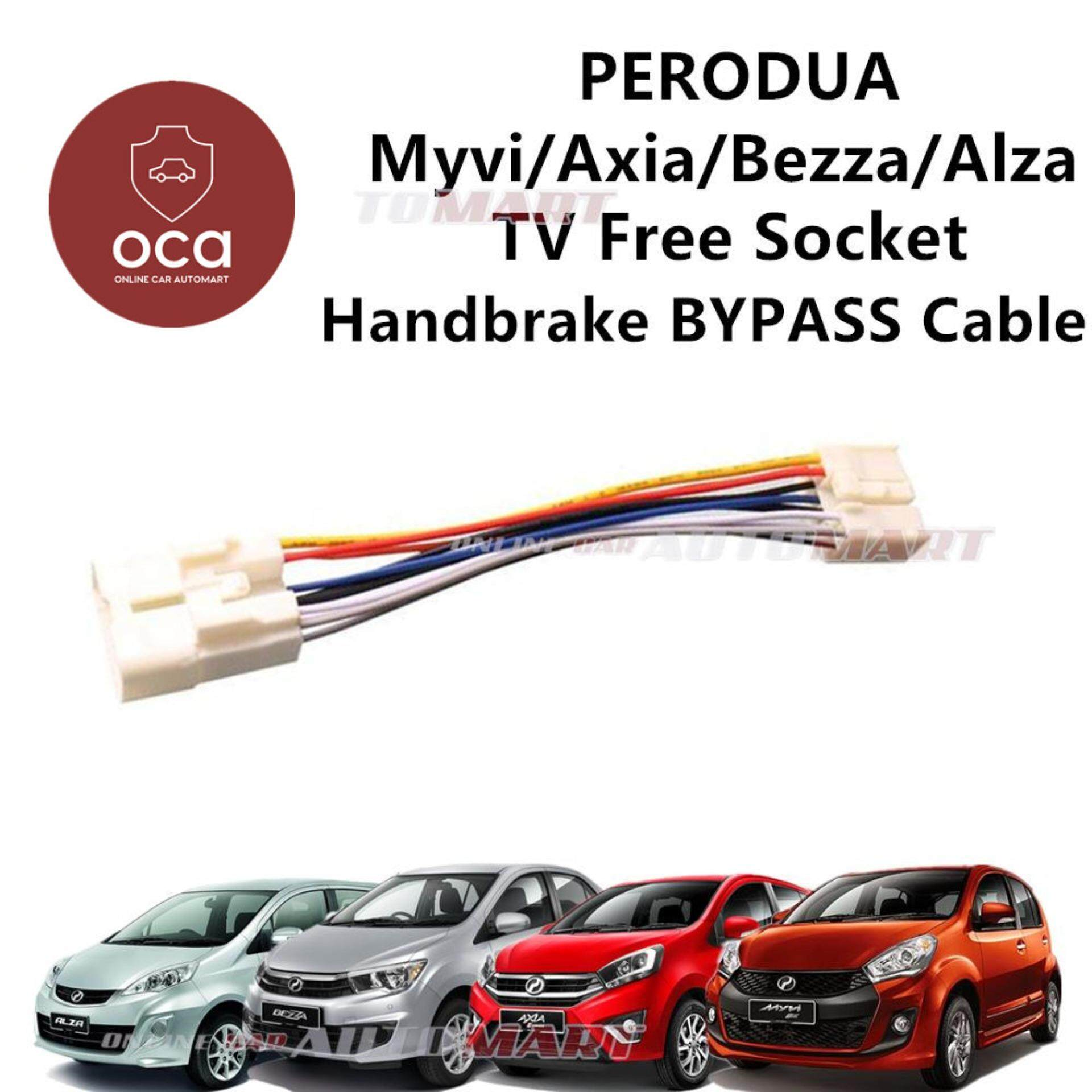 Perodua Axia/Alza/Bezza/Myvi/Aruz Plug n Play handbrake ByPass Car DVD Video While Driving In Motion (TV Free Socket)