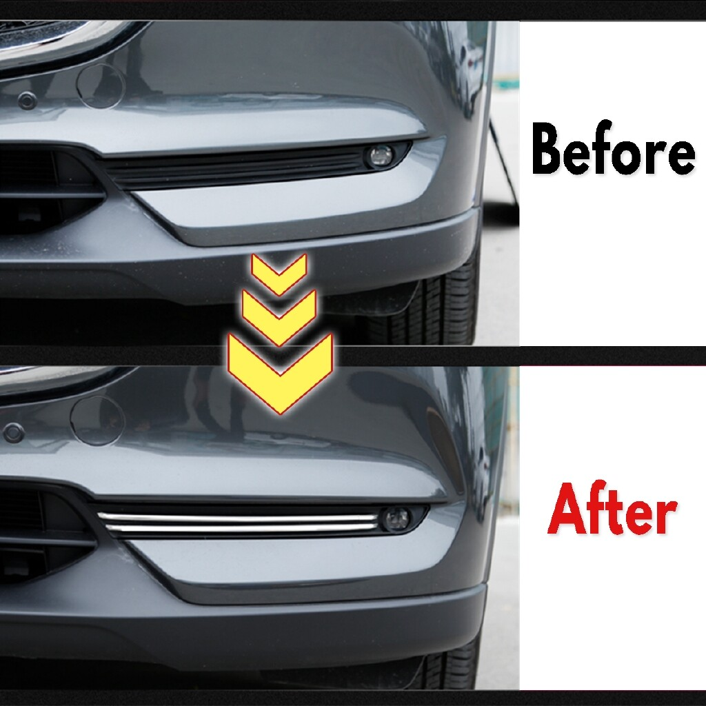 Car Stickers - Car Front Foglight Cover Stainless Steel Chromium For Mazda CX-5 CX5 2017 - Accessories