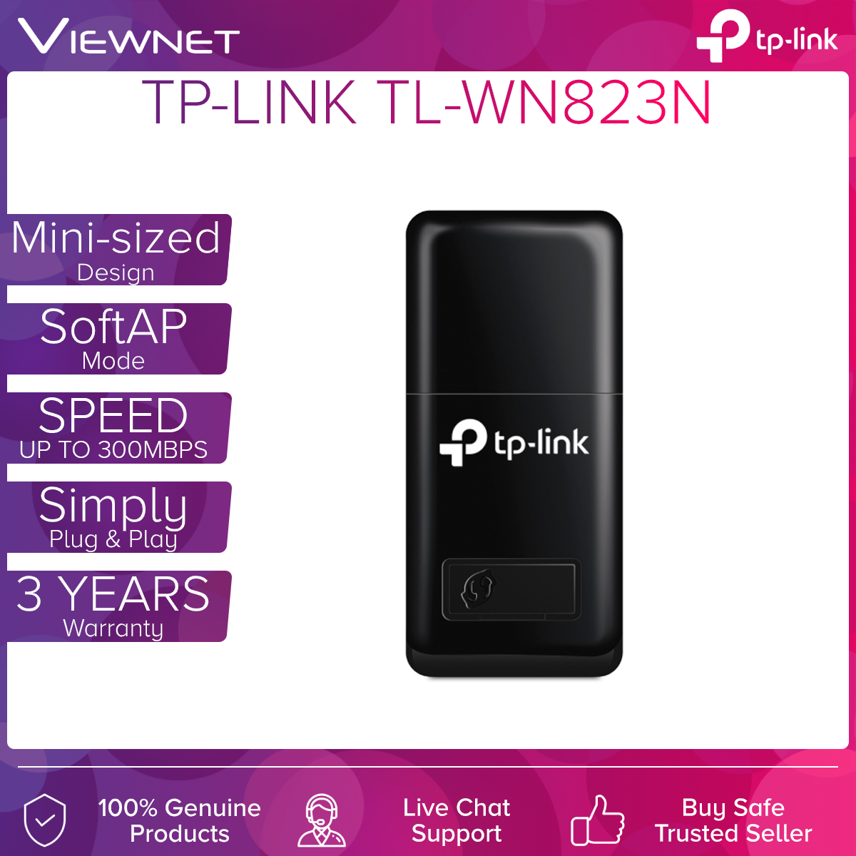 TP-LINK Mini USB Wireless WIFI adapter (TL-WN823N) with Soft AP, 300Mbps