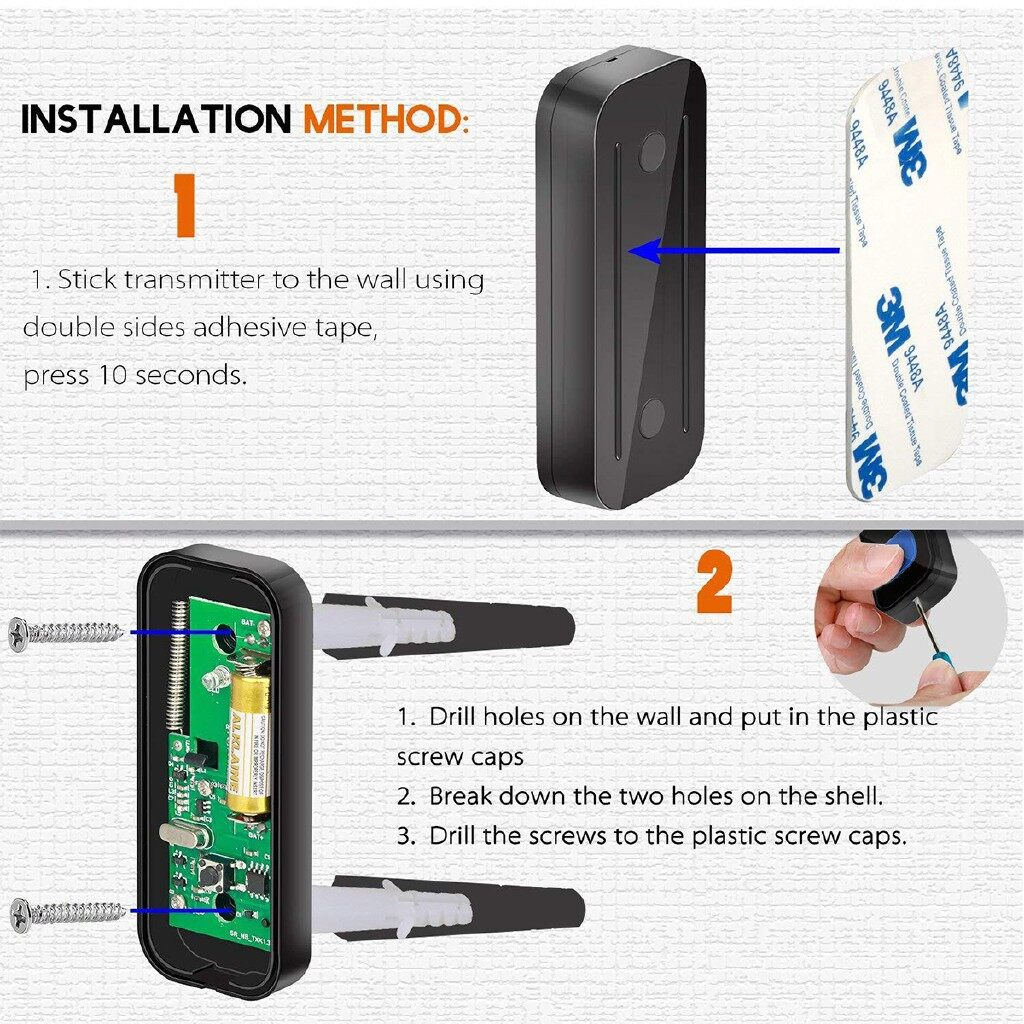 Mobile Cable & Chargers - 1000ft/300M Range WIRELESS LED Waterproof Door Bell 55 Chime Doorbell 110-260V - UK-TYPE 1 / EU-TYPE 1 / US-TYPE 1 / US-TYPE 2 / UK-TYPE 2 / EU-TYPE 2