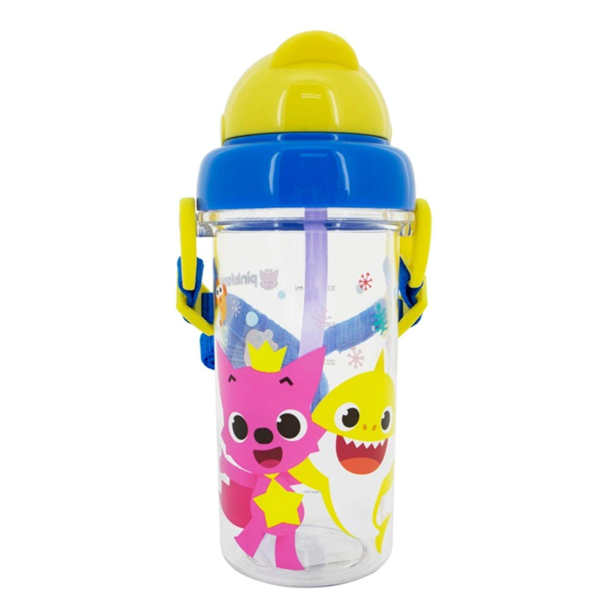Pinkfong Baby Shark 400ML BPA Free Children Kids Toddler Tritan Bottle With Straw And String - Multicolour