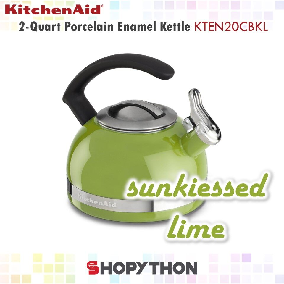 KitchenAid 2 Quart Stove Top Kettle with C Handle (1.9L) Sunkissed Lime KTEN20CBKL Whistle Stove Top Induction Cooking
