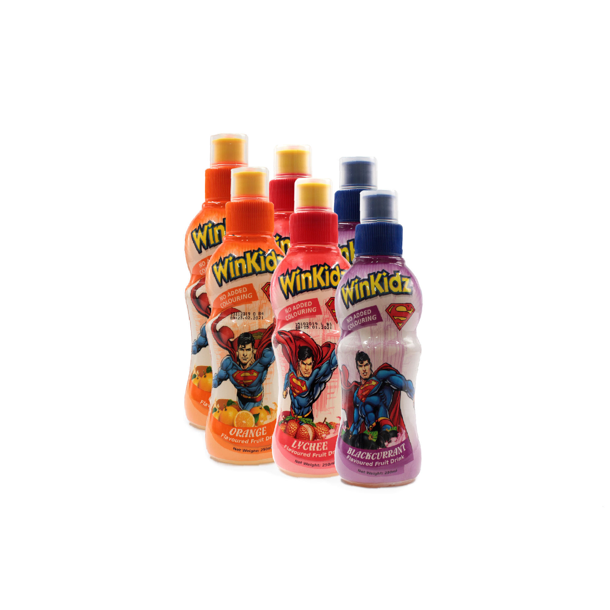 DC Comic Winkidz Superman Fruit Drink For Children 6 In 1 Value Set 250Ml X 6 - Mix Blackcurrant Lychee Orange