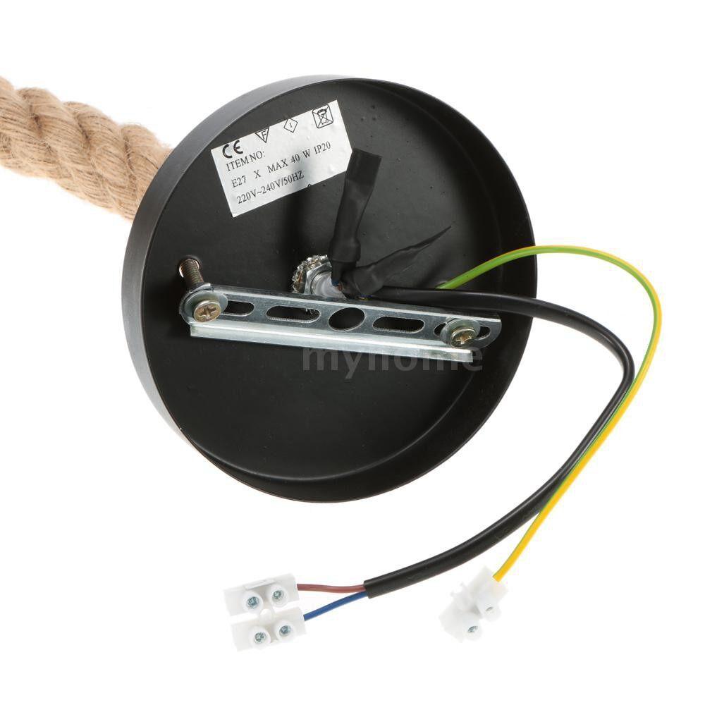 Lighting - 250cm AC220V E27 Single Head Vintage Hemp Rope Hanging Pendant Ceiling Light Lamp Industrial - 250 CM / 200 CM / 150 CM / 100 CM / 50 CM