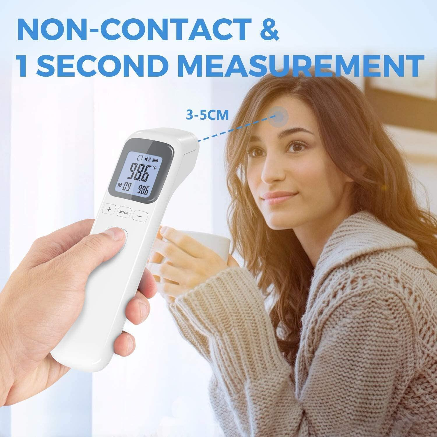OWGELS Thermometer Infrared for Fever, No-Touch Forehead Thermometer with Object Mode Function,Fever Alert and 15 Set Memory