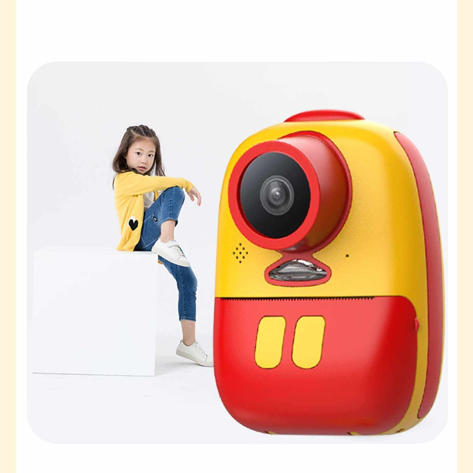 Kids Instant Digital Camera Double Lens Toys Instant Print Camera Support Selfies Video with Wider Strap Cartoon Bag Photo Thermal Paper Portable Photo Printer for Girl Boy (Pink)