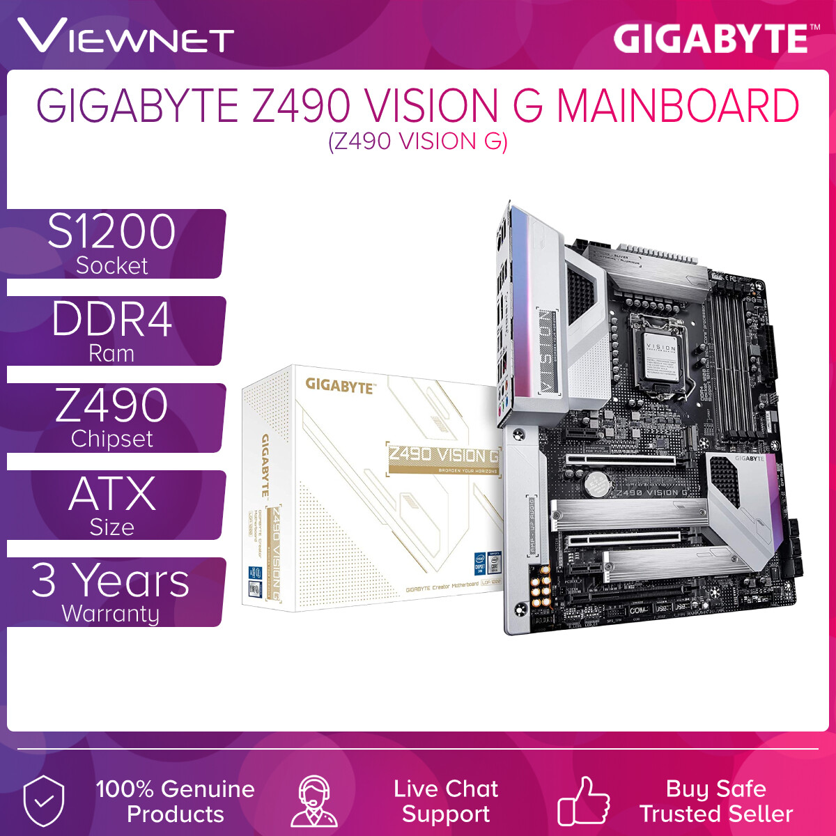 Gigabyte Z490 VISION G Mainboard, Direct 12+1 Phases Power Design, Direct Touch Heatpipe II /w Micro-Block Heatsink, Intel® 2.5GbE with cFosSpeed, 2-Way SLI™ / CrossFire™ Multi-Graphics, Dual M.2 with Thermal Guards, Front & Rear USB 3.2 Gen2 Type-C