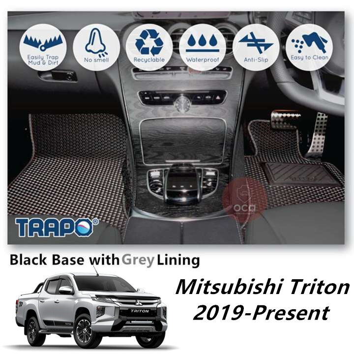 TRAPO Customize Car Floor Mat for Mitsubishi Triton 2019-Present Black Base with Red Lining,Grey Lining,Blue Lining,Black Lining) Choose The Colour In Colour Family