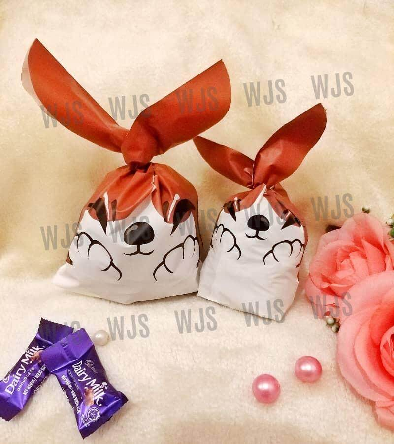 (MULTIPLE SIZES) WJS 50pcs 50 pcs Cute Dog with Paws Hands Brown White Goodies Bag