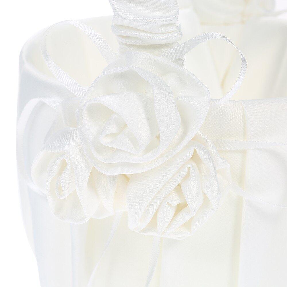 Home Decor - 7 7 inches White Heart Ring Bearer Pillow and Satin Flower Girl Basket Wedding - Living