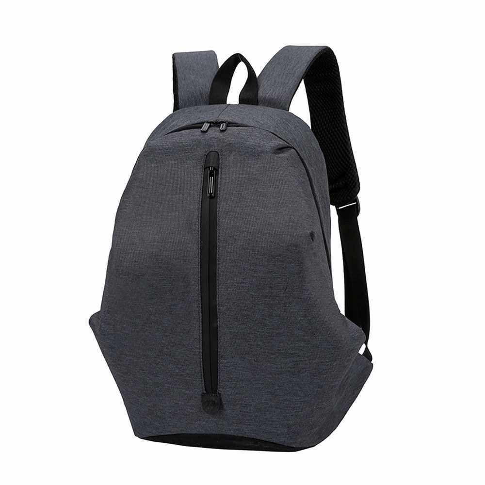 Fashion Backpack Pure Color Large Capacity Leisure Outdoor Travel Laptop Backpack School Bag (Dark Grey)