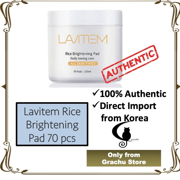Lavitem Rice Brightening Pad Daily Toning Care 70 pads 150ml - Original from Korea (Ready Stock)