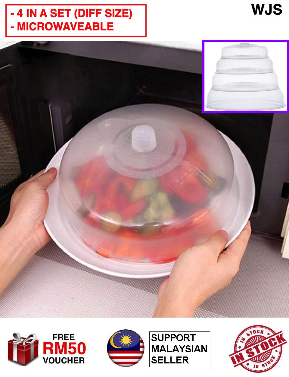 (4 UNIQUE SIZES IN A SET) WJS 4pcs 4 pcs Premium PVC Microwave Food Cover Plate Vented Splatter Protector Clear Kitchen Lid Vent Table Food Cover Table Cover Fine Dining MULTIPLE SIZE [FREE RM 50 VOUCHER]