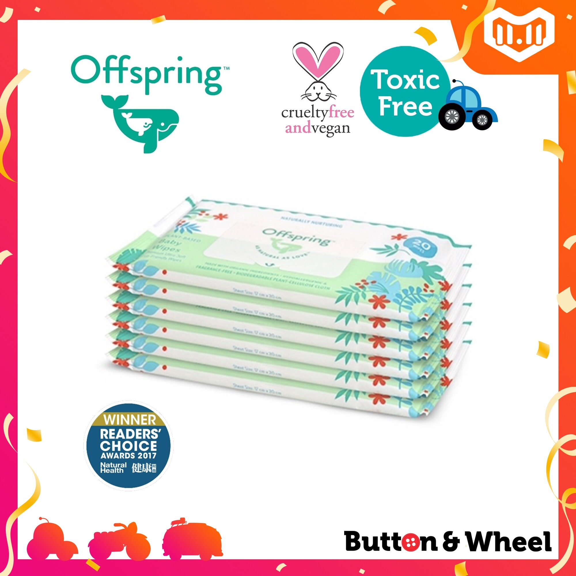 Offspring Natural Baby Wipes 20ct 6-Pack Bundle (Expiry Date: 08/12/2021):OI-BW-20CT-6P