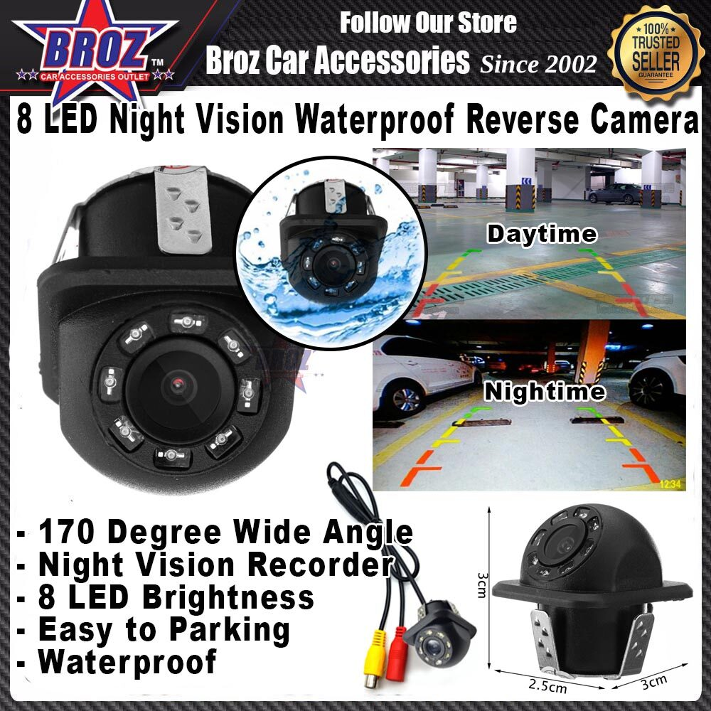 8 LED Night Vision 170 Wide Angle Car Rear View Waterproof Drill Type Reverse Backup Camera