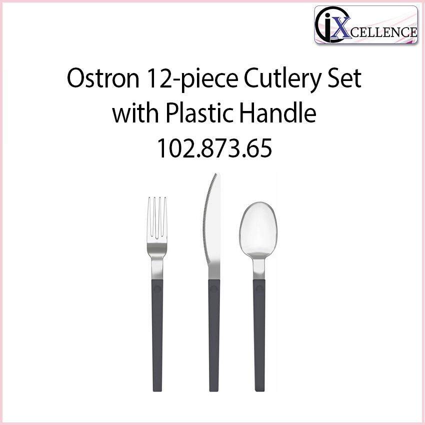 [IX] OSTRON 12-Piece Cutlery Set With Plastic Handle 102.873.65 (Grey/Stainless Steel)