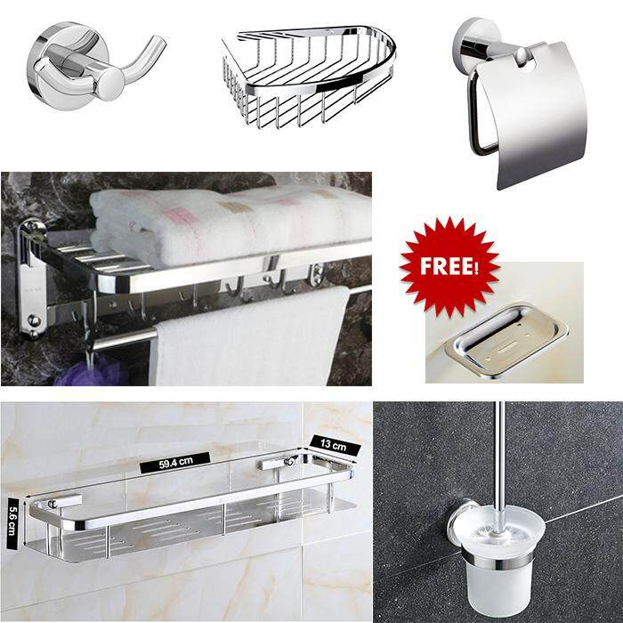 SUS304 Stainless Steel Robe Hook + Foldable Towel Rack + Corner  Basket + Rectangular Basket + Toilet Paper Holder  + Toilet Brush