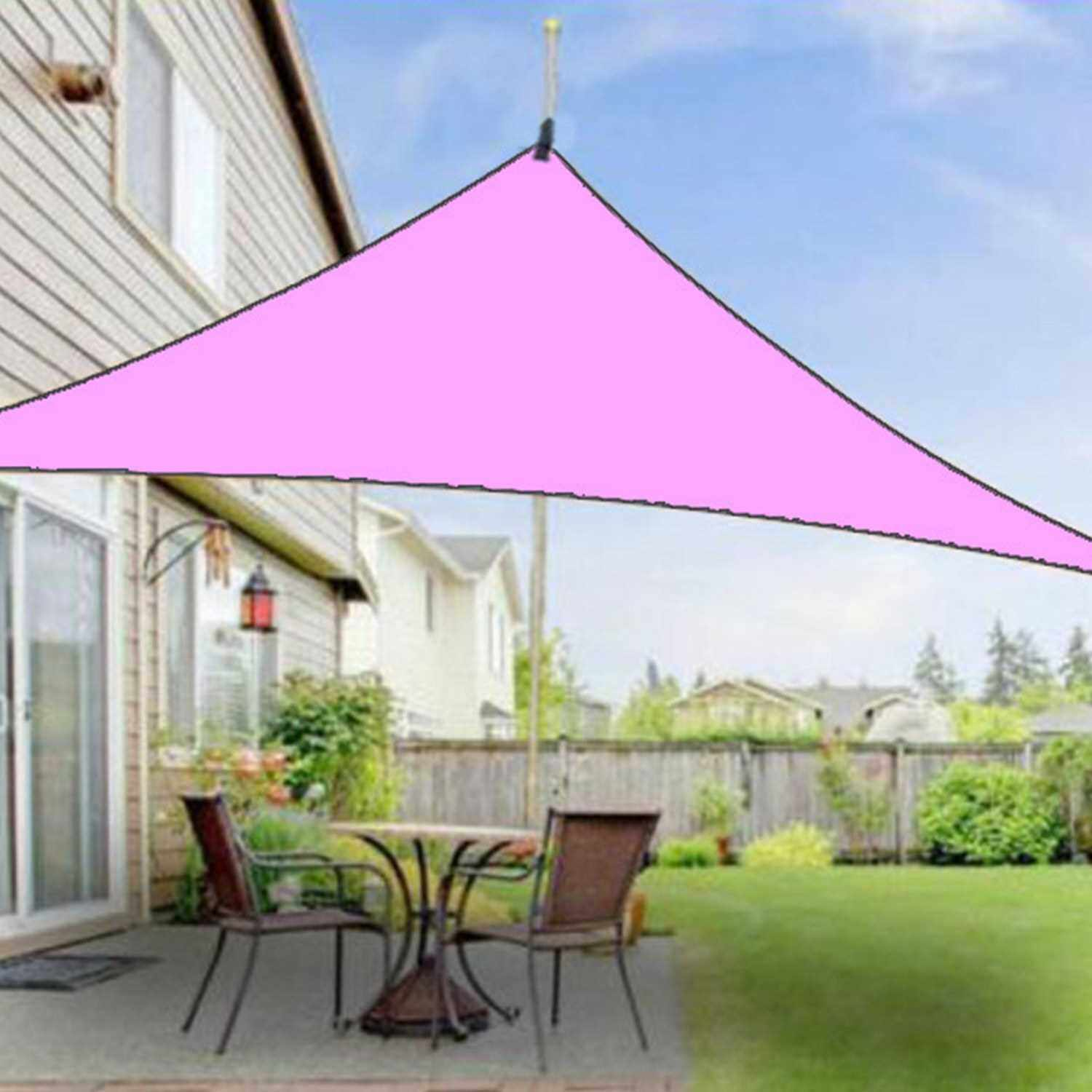 20ft Rain Fly UV Resistant Sun Shade Sail Canopy Waterproof Heavy Duty Triangle 210T Polyester Awning Sand Sunshade for Outdoor Patio Garden Backyard Activities (Pink)