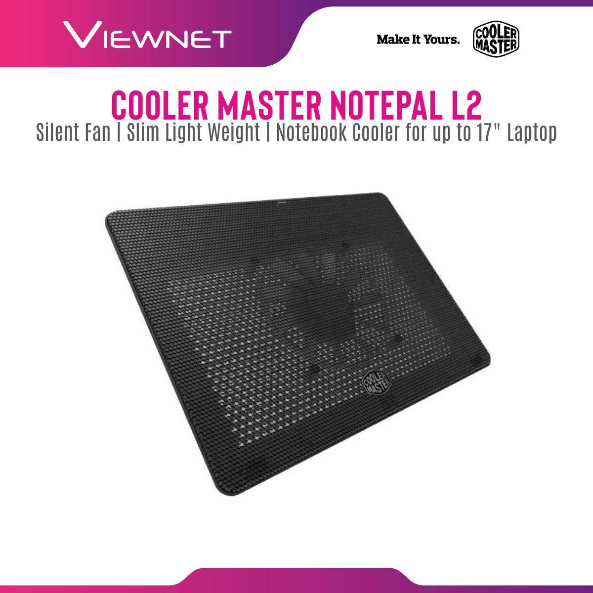 Cooler Master Notepal L2 160mm Blue LED Silent Fan Slim Light Weight Portable Ergonomic Mesh USB 2.0 Notebook Cooler for up to 17