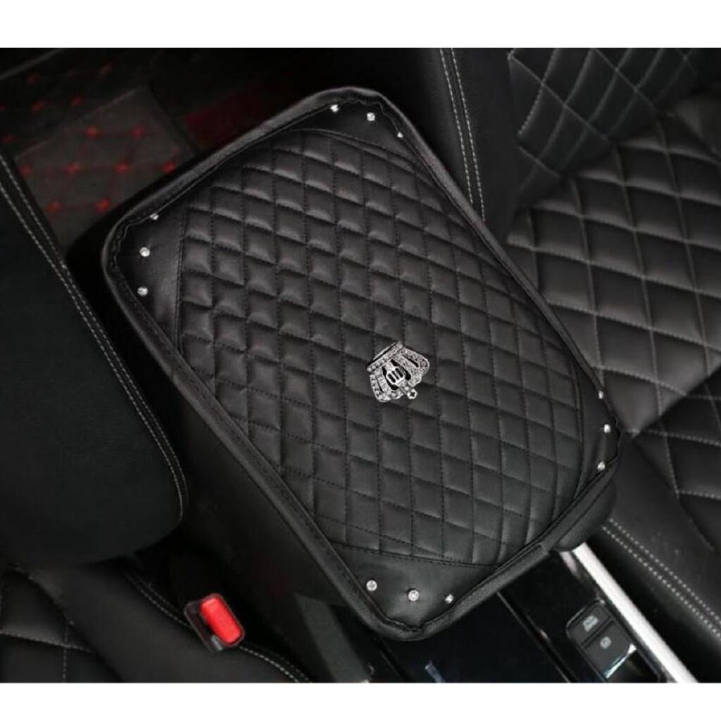 Car Accessories - PU Leather Diamond Car Center Console Armrest Pad Cover Protector Cushion Crown - Automotive