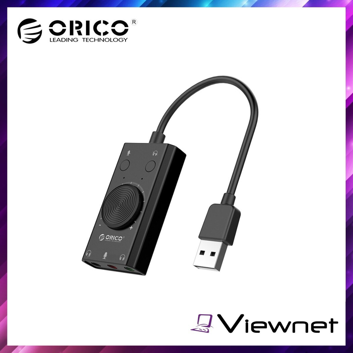 Orico Audio USB Sound Card With Volume adjustment (SC2-BK), Headset Port, LED Indicators, USB2.0,  80dB