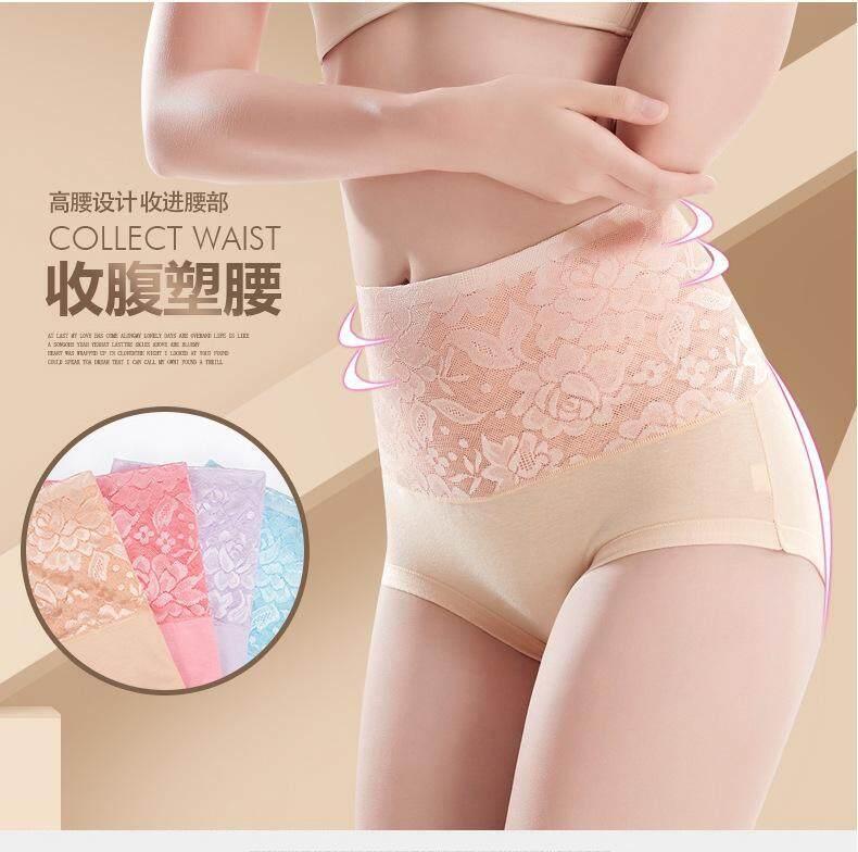 2 Pieces Plus Size 3D Midi Waist Lace Firm Tummy and Hips Lifting Panties Seamless Shape wear Shaper Wanita Slimming underwear Panties