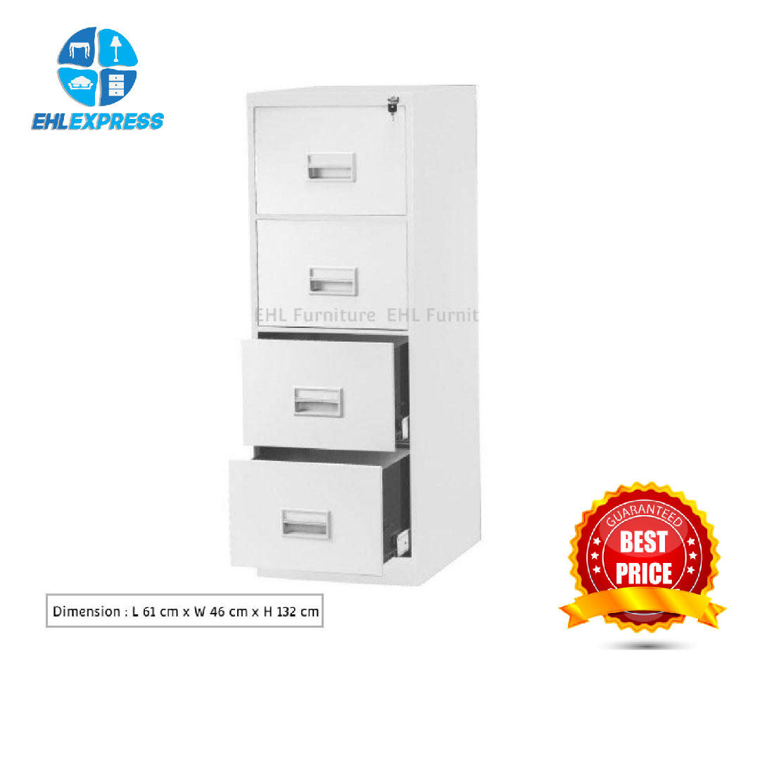 EHL EXPRESS Office metal / steel cabinet 4 drawer with recess handle / lock - FREE INSTALLATION / DELIVERY TO PENINSULAR
