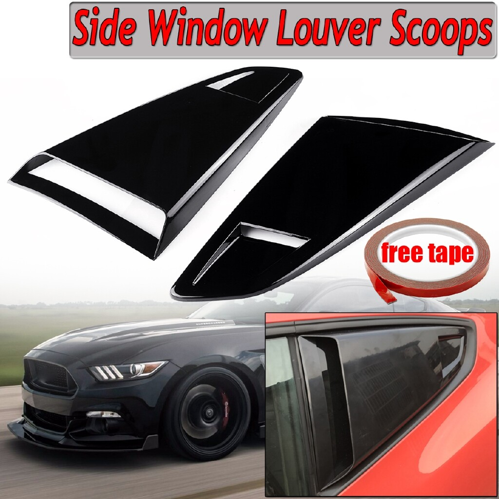 Automotive Tools & Equipment - For 2015-18 Ford Mustang Window Quarter Rear Louver Side Vent Scoop Cover Gloss - Car Replacement Parts