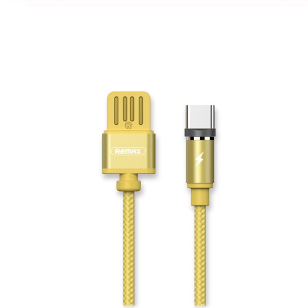 Mobile Cable & Chargers - REMAX 2.1A Type-C USB Nylon Braided Fast Charging Data Cable for Xiaomi Mi8 Mi9 - GREY / YELLOW