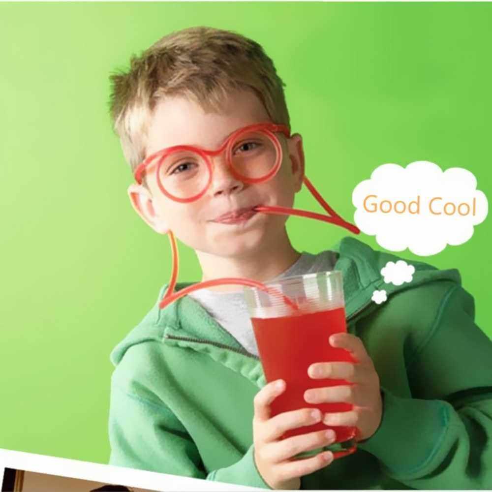 Fun Eyeglasses Eyewear Straw Crazy Design DIY Silly Transparent Funny Stylish Cartoon Gift for Kids Children Home Party Fesitival Holiday (Orange)