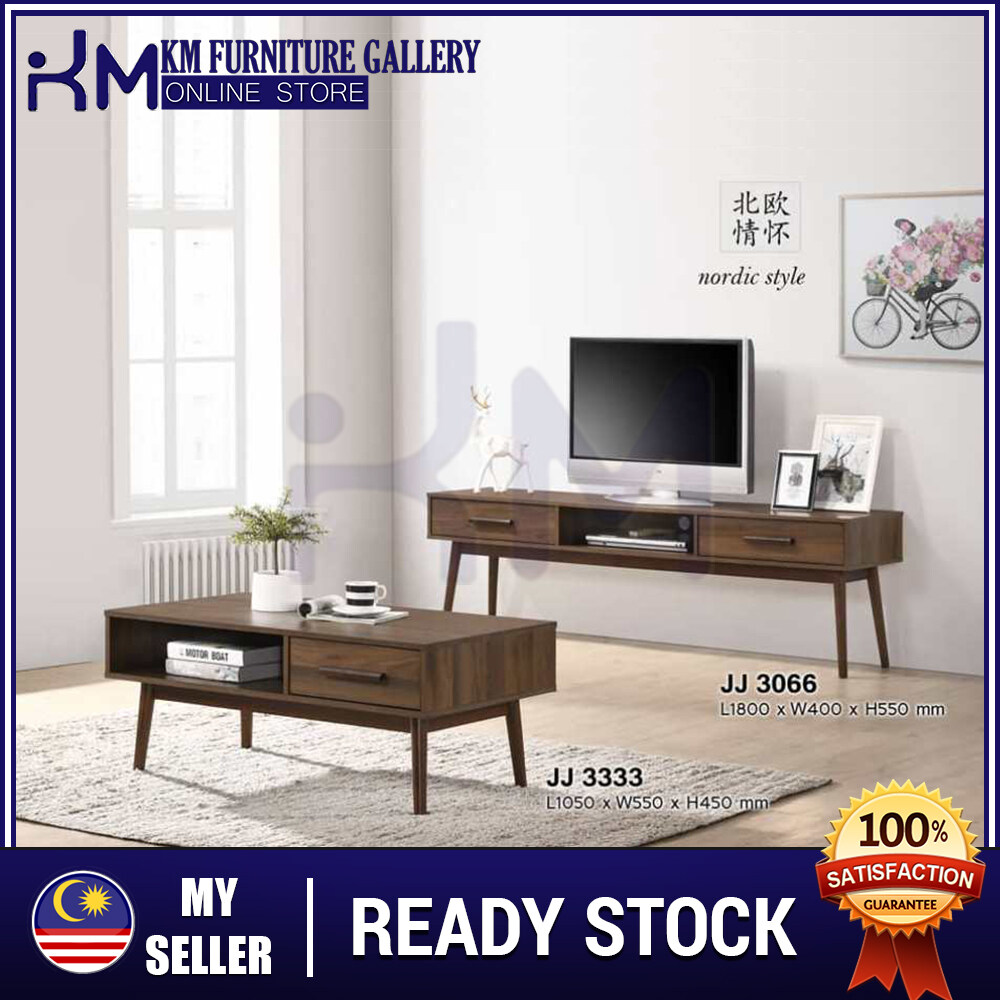 KM Furniture Living Set/ 6' Feet TV Cabinet & Coffee Table - KMJJ3333/ KMJJ3066 KMJJ33333066