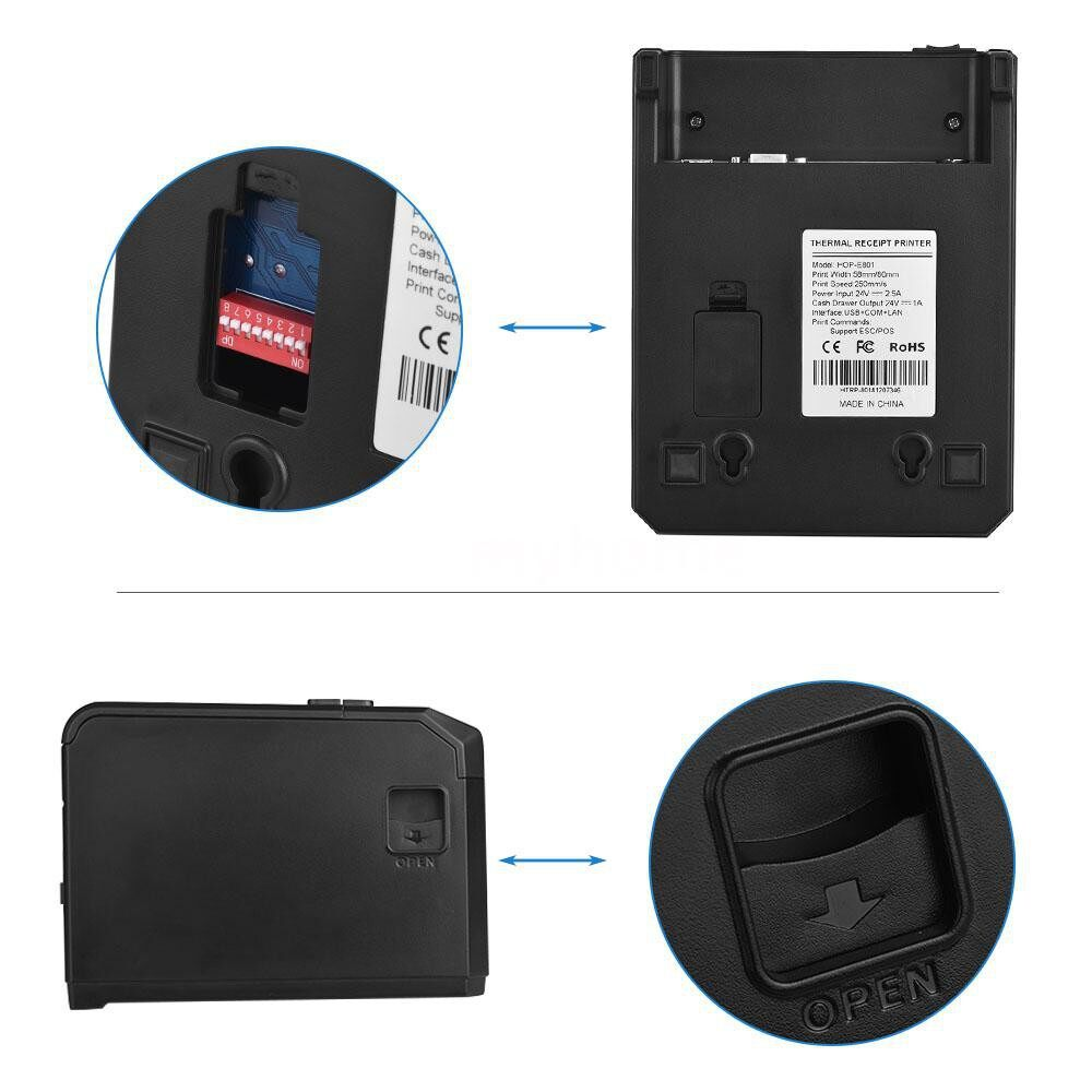 Printers & Projectors - HOIN 80mm Thermal Receipt Printer Support 58mm/80mm Paper Width with Auto Cutter USB Serial - Computer & Accessories