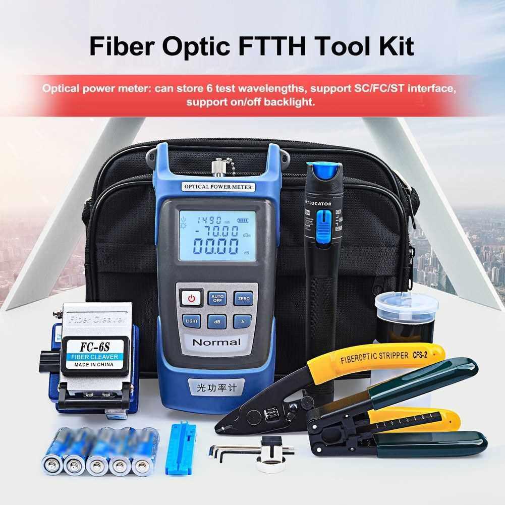 Best Selling Fiber Optic FTTH Tool Kit Optical Power Meter Fiber Cleaver Wire Stripper Optical Fiber Cold Connection Tools Set with Storage Bag (Standard)