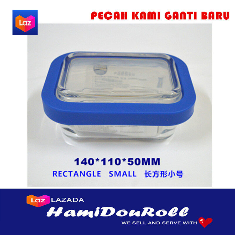 {READY STOCK} Imported Tempered Glass Crisper Refrigerator Microwave Oven Bento Container Lunch Box Square Shape Large ????????????? TGlassSquareLarge