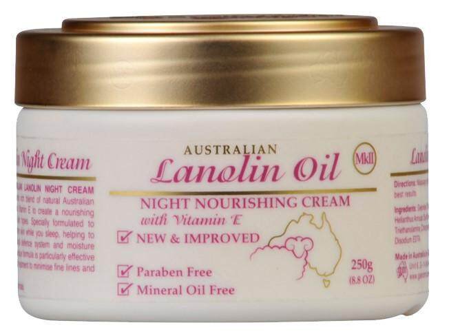 AUSTRALIAN CREAMS LANOLIN OIL NIGHT MOISTURISING CREAM WITH VITAMIN E 250G
