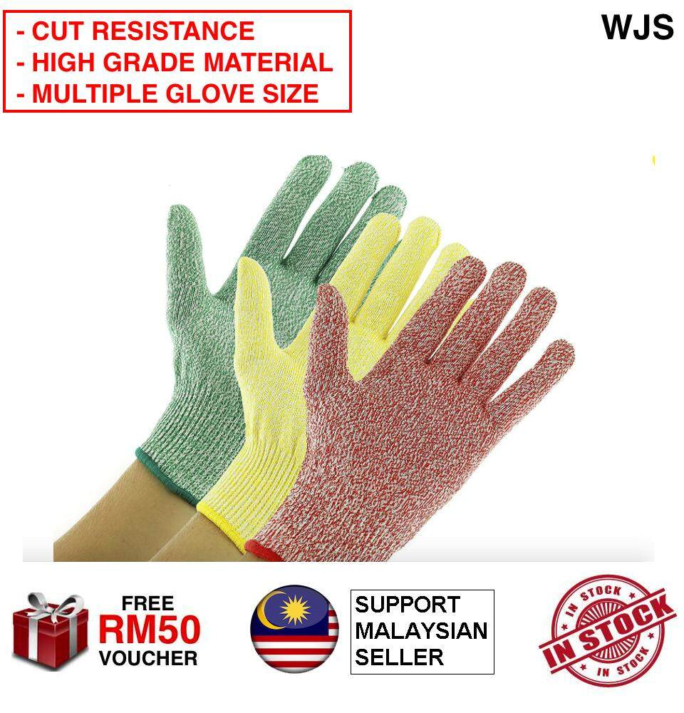 (HIGH CUT RESISTANCE) WJS Cut Resistant Gloves Food Grade Level 5.5 Protection Cuts Gloves Kitchen Glove Safety Gloves Hand Gloves 1 Pair GREY RED PINK SIZE XS - XL [FREE RM50 VOUCHER]