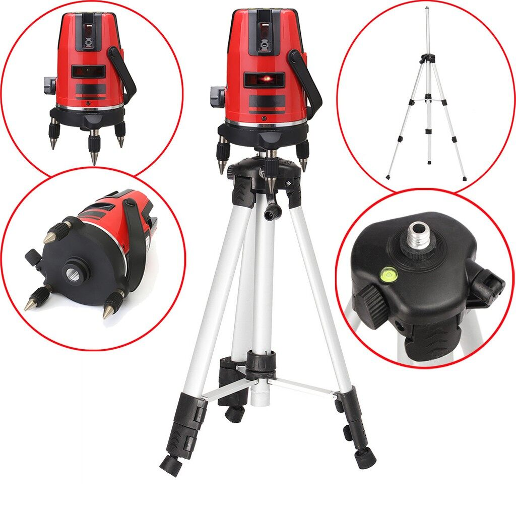DIY Tools - Red Automatic Self Leveling 5 Line 6 Point 4V1H Laser Level Measure - Home Improvement