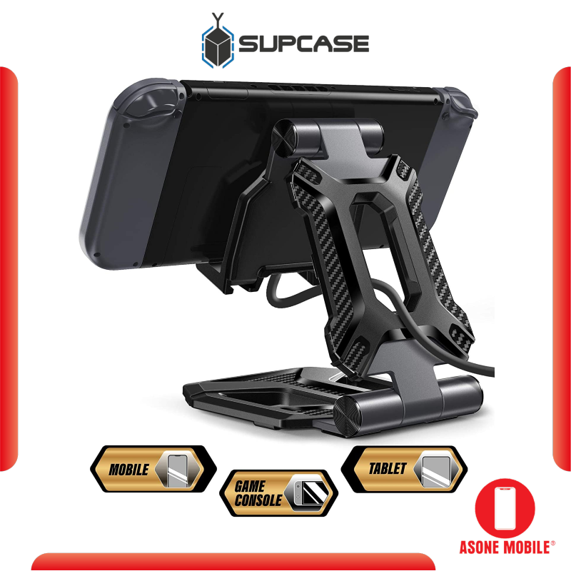 SUPCASE Tablet Stand, Nintendo Switch Stand, SUPCASE Portable Adjustable Desk Aluminum Mount Holder Dock for Cell Phone, iPad Air Pro Mini, Galaxy Tab, Nintendo Switch, E-Reader and More (4-13'') - Black
