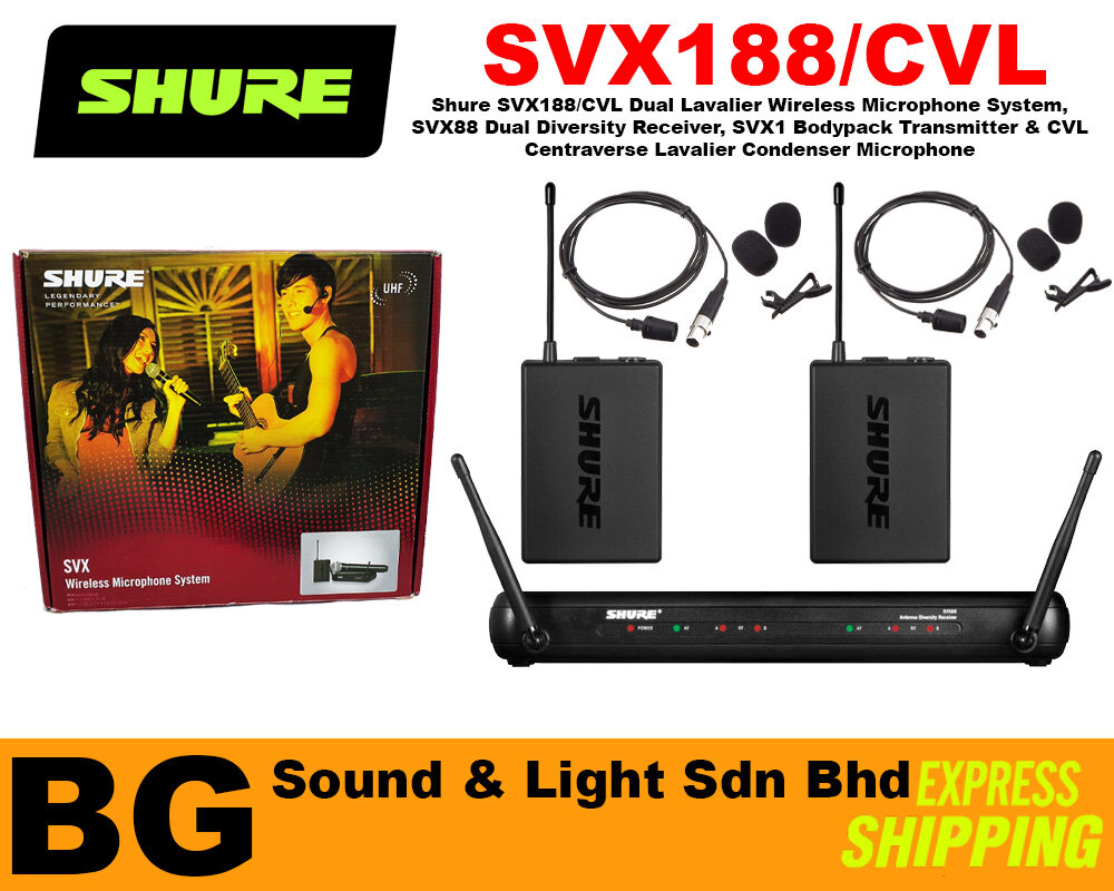 [SHIP OUT EVERYDAY] Shure SVX188/CVL Dual Lavalier Wireless Microphone System Dual Diversity Receiver, Bodypack, CVL