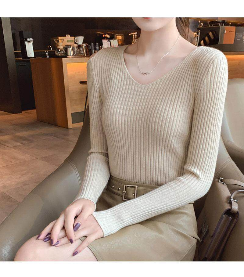 (Pre Order14 Days JYS Fashion Korean Style Women Knit TopCollection526-8196col525a-8196--Khakis - One size