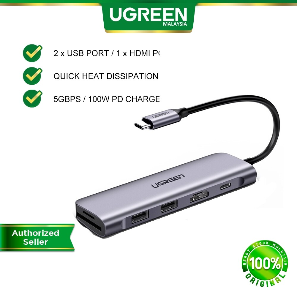 UGREEN 6 in 1 USB C Hub 4K Type C to 4K HDMI SD TF Card Reader 3 USB 3.0 Ports Hub Adapter for MacBook Pro Air 2020 2019 2018 Galaxy Note 10 S10 S9 S8 Chromebook XPS Aluminum