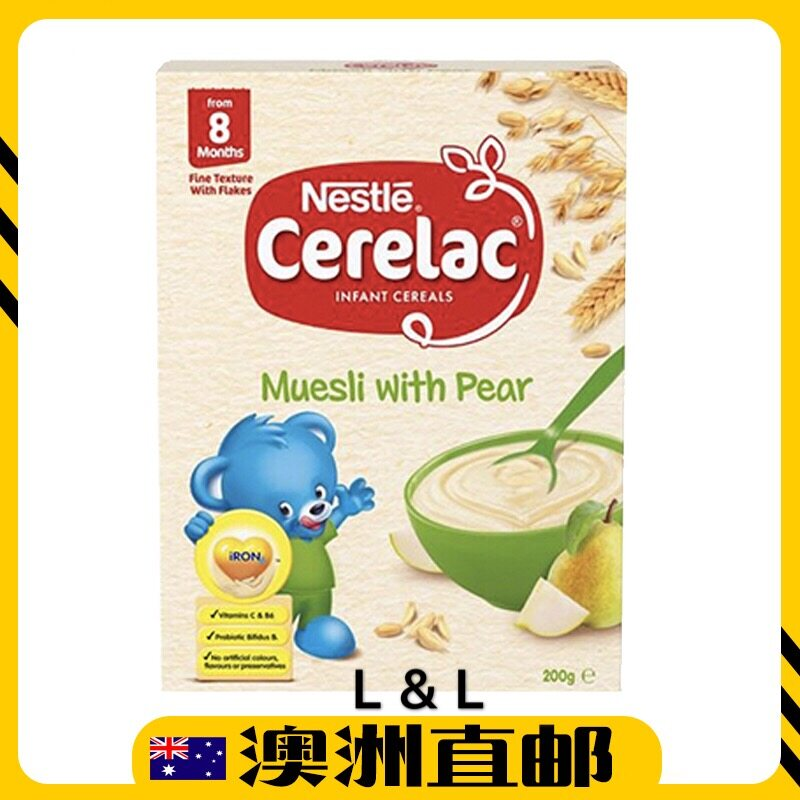 [Pre Order] Australia Import Nestle Cerelac Baby Cereal Muesli With Pear 8mths+ ( 200g ) (Made in Australia)