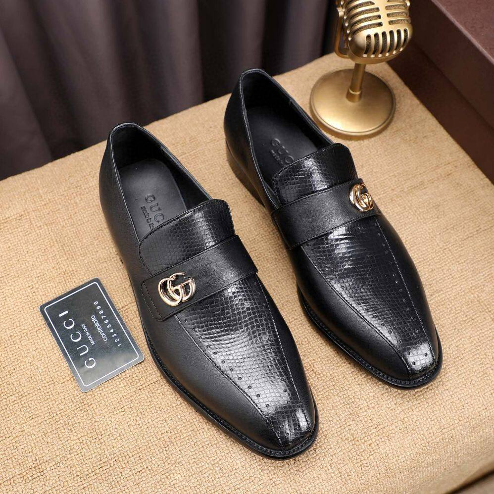 GUCC SHOE MEN'S LATEST NEW CASUAL SHOES, CLOSED TOE SHAPE LEATHER MATERIAL SLIP-ON & PULL-ON CLOSURE