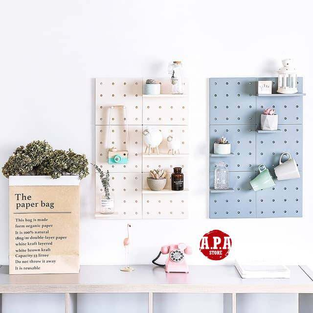 APA Stylish Home Deco Self-Adhesive DIY Wall Multipurpose Hole Board Rack Storage (22x22cm/piece)