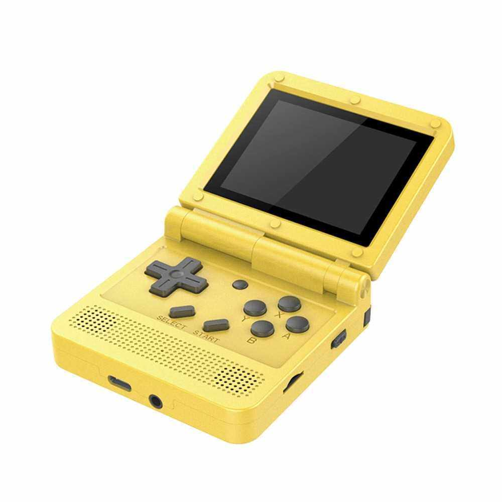 Flip Handheld Console 3-inch IPS Screen Open System Game Console with 16G TF Card Built in 2000 Games Portable Mini Retro Game Console for Kids (Yellow)