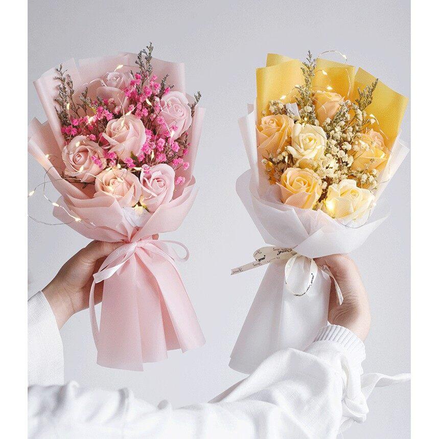 Preserved Baby Breath mix with 6 Soap Rose Flower Sunflower Bouquet   Bunga   Valentine   Anniversary   Birthday