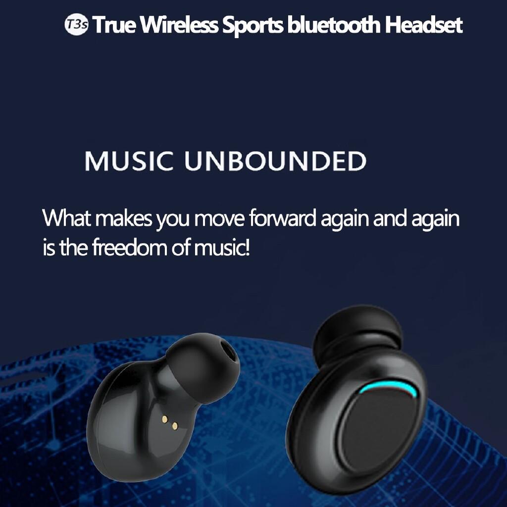 Over-Ear Headphones - T3s WIRELESS Sport Earphones BLUETOOTH 5.0 LED Earbuds Hifi Stereo Sound Head SET - BLACK / WHITE