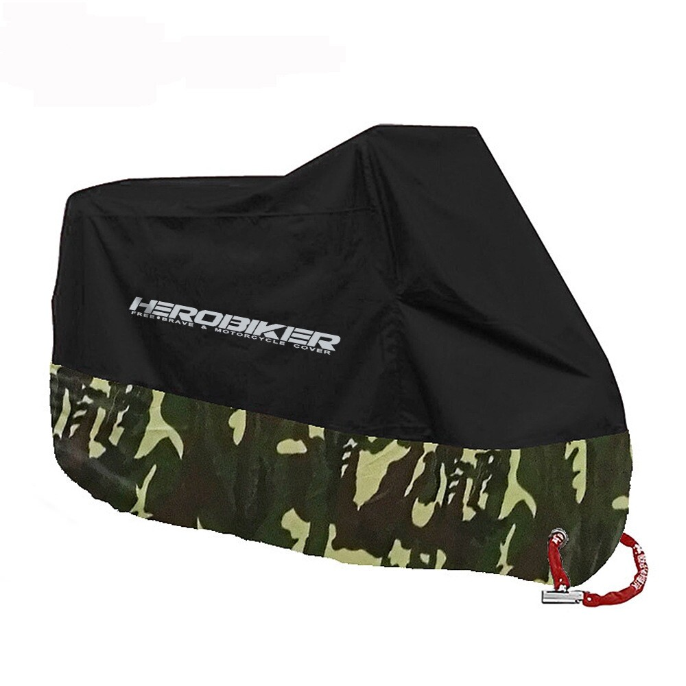 Moto Accessories - HEROBIKER Motorcycle Rainproof Anti-UV Sun Protection Cover Adjustable XS to 4XL - CAMOUFLAGE XL / BLACK RED 3XL / BLACK SILVER 4XL