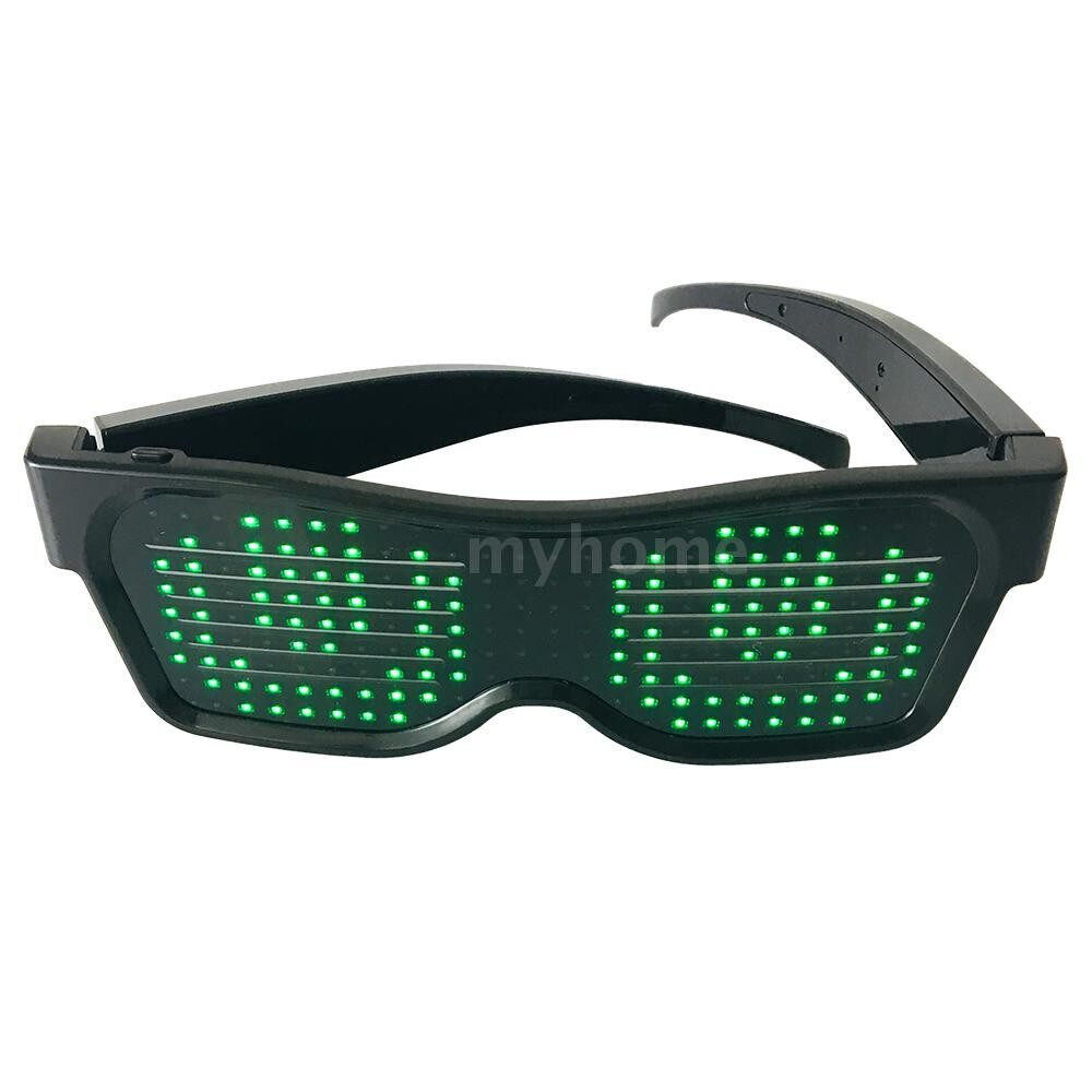 Lighting - LED Light up Glasses USB Rechargeable & WIRELESS with Flashing LED Display Glowing Luminous Glasses - GREEN / YELLOW / RED / WHITE / BLUE / PINK